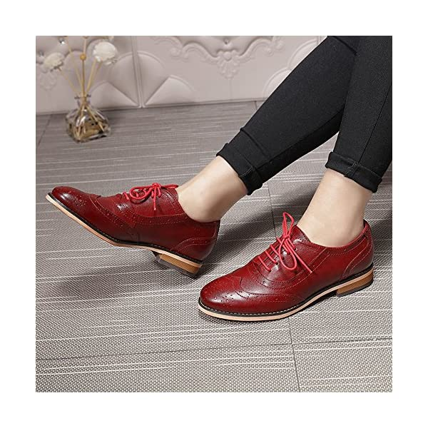 Mona flying Women's Leather Perforated Lace-up Oxfords Brogue Wingtip Derby Saddle Shoes for Girls ladis Women