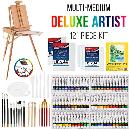 """US ART SUPPLY 121-Piece Custom Artist Painting Kit with Coronado Sonoma Easel, 24-Tubes Acrylic Colors, 24-Tubes Oil Painting Colors, 24-tubes Watercolor Painting Colors, 2-each 16""""x20"""" Artist Quality Stretched Canvases, 6-each 11""""x14"""" Canvas Panels, 11""""x14"""" Watercolor Paper Pad, 10-Natural Hair Bristle Paint Brushes, 7-Nylon Hair Paint Brushes, 15-Multipurpose Paint Brushes, Trowel, 5 Pallete Knives, 17-Well Paint Mixing Pallete"""