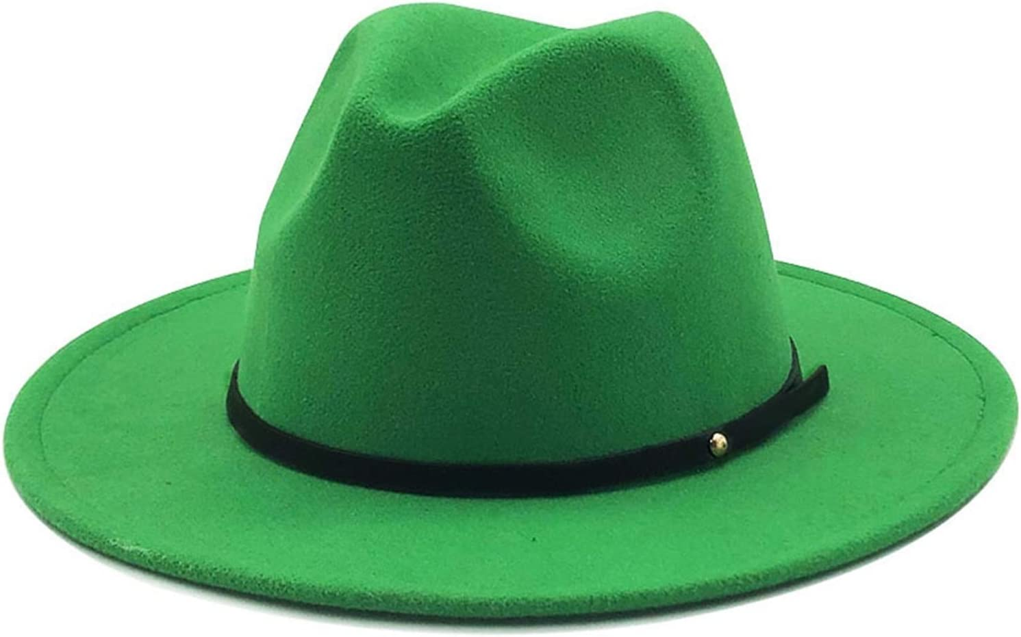 Tlwangl Hat Women Men Wool Vintage Fedora Hat with Wide Brim Gentleman Elegant Lady Winter Autumn Jazz Caps 60CM (Color : Grass Green, Size : 55 58CM)