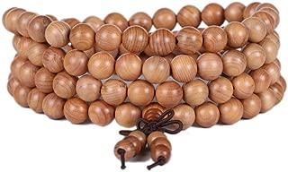 ascascs 108 Mens Womens 8mm Wood Prayer Yoga Beads Bracelet Elastic Mala Bracelet Sandalwood Link Wrist Necklace