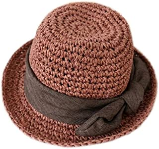 Baby Decoration Hat Bowknot Girls Straw Hat Children Bowler Hat Sun Protection Breathable Hat for 3-7 Years Old(Khaki) Cute Cap (Color : Pink, Size : 53cm)