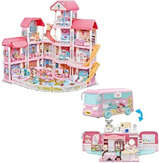 Dollhouse with Furniture Accessories 15 Rooms+ Koala Touring Car Pretend Play Doll House Pink Dreamhouse Movable Slides St...