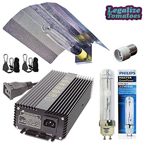 315w CMH Grow Light Kit- LEC Ceramic Metal Halide High Performance Package - HID Wing Reflector, 315w Watt Ballast 120/240v Volt, Philips 3100K Lamp/Bulb, Mogul Socket Adapter