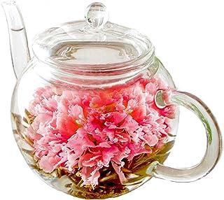 カーネーション茶 ティーポット お花のつぼみ 誕生日 花 おしゃれ お茶 花咲くお茶 工芸茶 御礼 記念日 (最短出荷(Amazon倉庫出荷))