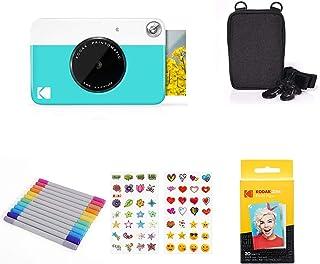 KODAK PRINTOMATIC Digitale Sofortbildkamera, Vollfarbdrucke auf Zink 2x3 Fotopapier mit Sticky Back Funktion   Drucken Sie Memories Sofort (Blau), Starter Bundle