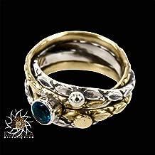 besetzt mit einem blauen Topas-Edelstein Gr/ö/ße 56 Wundersch/öner Ring aus Sterlingsilber und Messing