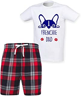 60 Second Makeover Limited Mens Frenchie Dad Tartan Short Pyjama Set Family French Bulldog
