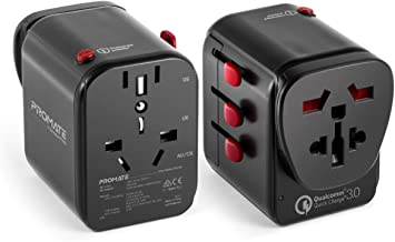 Promate Universal Travel Adapter, Worlds First Grounded Power Adapter with Resettable Fuse, 2.4A 3 USB Port and Qualcomm Q...
