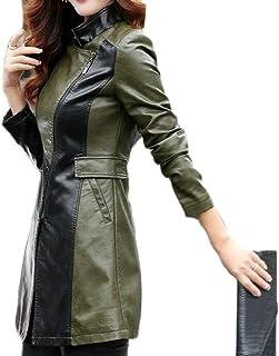 maweisong 女性Fashinフォークスレザーオーバーコートスリムフィットミッドロングモトジャケット