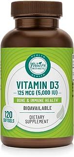 Nature's Instincts Vitamin D3 125 MCG (5000 IU) Softgels | Bone & Immune Health Support | Bioavailable Vitamin D3 Suppleme...
