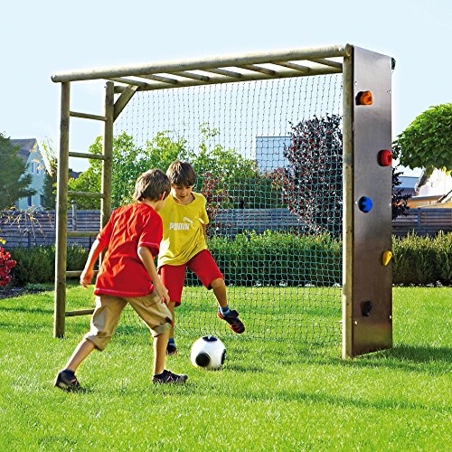 bekletterbares Fußballtor für Kinder Fußballwand Holz Spielturm Klettergerüst Rundholz