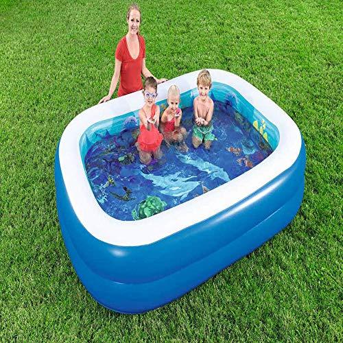 inflatable toys Sommer Neue Rechteckige Familie Aufblasbaren Pool Aufblasbare Spielzeuge, 3D-Pool Kinderballbecken Kinderbad Sandbecken, Geeignet Für Garten Im Freien - 262 cm X 175 cm X 51 cm A