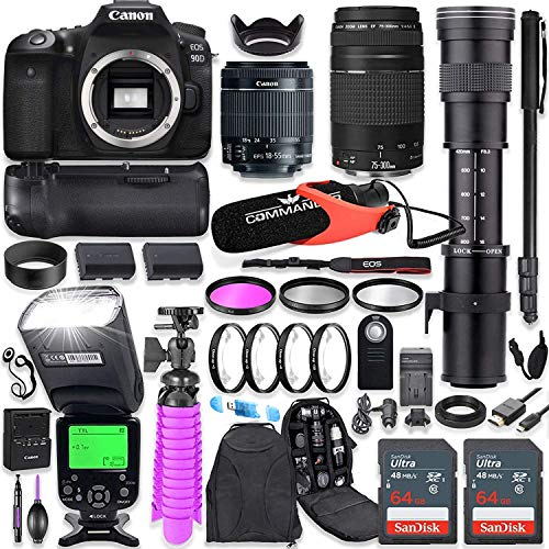 Canon EOS 90D DSLR Camera Kit with Canon 18-55mm & Canon 75-300mm Lenses + 420-800mm Telephoto Zoom Lens + Battery...