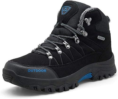 Hy Herren Wanderschuhe, Mikrofaser Winter warme Slip-Ons Reise Schuhe Trainingsschuhe, Gummisohle, Klettern Turnschuhe Wanderschuhe (Farbe   Schwarz Größe   44)
