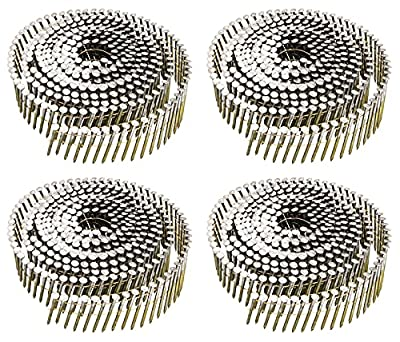 Siding Nails 1-1/4-Inch x .092-Inch, 15-Degree Collated Wire Coil, Full RoundHead, Ring Shank, Hot-Dipped Galvanized, 1200 Count for Rough Nailing of Lathing and Sheathing Materials by BOOTOP by BOOTOP
