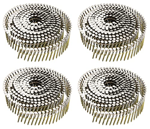 Siding Nails 1-1/4-Inch x .092-Inch, 15-Degree Collated Wire Coil, Full RoundHead, Ring Shank, Hot-Dipped Galvanized, 1200 Count for Rough Nailing of Lathing and Sheathing Materials by BOOTOP