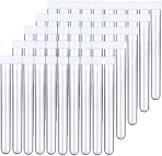 12x100mm(8ml) Clear Plastic Test Tubes with Caps for Scientific Experiments, Halloween, Christmas, Scientific Themed Kids Birthday Party Supplies, Decorate The House, Candy Storage(50 Pack)