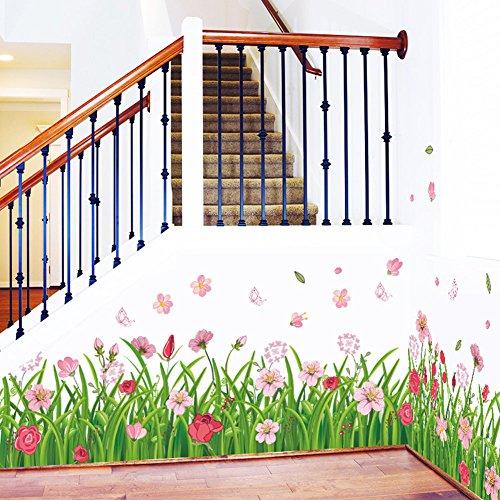 Pegatinas de pared extraíbles con flores de hierba con mariposa, murales para decoración del hogar para escaleras de pared esquina de la habitación de los niños