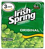 (PACK OF 3 BARS) Irish Spring ORIGINAL SCENT Bar Soap for Men& Women. 12-HOUR ODOR/DEODORANT PROTECTION! For Healthy Feeling Skin. Great for Hands, Face & Body! (3 Bars, 3.75oz Each Bar)