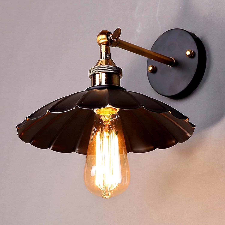 LIAN Vintage Industrial Loft amerikanischen Stil lndlichen Korridor Wandleuchte für Restaurant Zimmerbar Schlafzimmer Lotus Leaf Nachttischlampe, schwarz