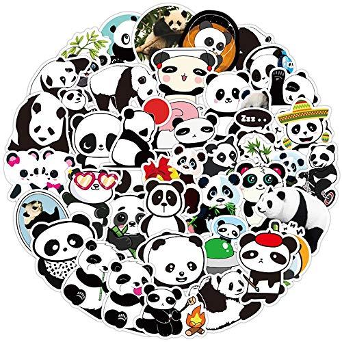 HONGC Cute Panda Cartoon Sticker DIY Skateboard Refrigerador Teléfono móvil Guitarra Motocicleta Laptop Equipaje Animal Sticker Calcomanía Juguetes para niños 50 Uds