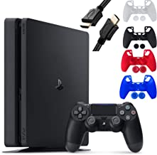 Sony Playstation 4 Console - 1TB Slim Edition Jet Black - PS4 with 1 DualShock 4 Wireless Controller - Family Holiday Gami...