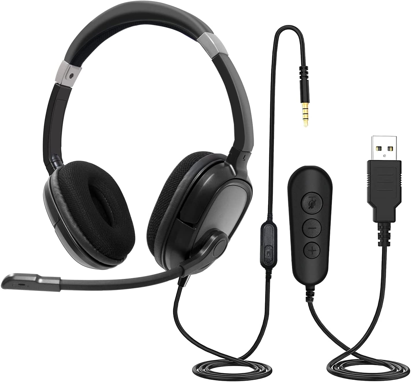 Auriculares para PC con micrófono, auriculares USB AUCARY / conector jack de 3,5 mm Auriculares Computadora con cancelación de ruido y control de volumen