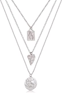 NLCAC Coin Necklace for Women Layered Coin Charm Choker Necklace Delicate Medallion Pendant Necklace