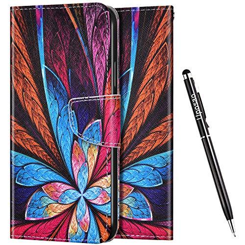 Uposao Kompatibel mit Huawei Honor 8X Hülle Leder Handyhülle Bunt Retro Muster Hülle Klapphülle Brieftasche Schutzhülle Flip Wallet Case Tasche Magnet Kartenfach,Blau Rosa Blumen