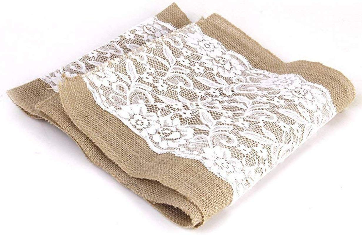 Joe Lory 12x72 Inch Burlap And Lace Table Runner Fall Decorations Country Rustic Barn Wedding Decorations Farmhouse Kitchen Decor Baby Birdal Shower Decoration 1