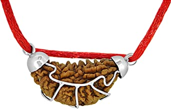 1 Mukhi Indian Rudraksha | One Faced Silver 925 Pendant Rudraksha Mala | Half Moon Shaped One Mukhi Rudraksha - 100% Original & Certified by Arihant Gems and Jewels