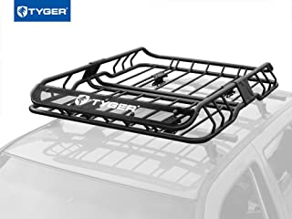 Tyger Auto TG-RK1B902B Heavy Duty Roof Mounted Cargo Basket Rack | L47 x W37 x H6 | Roof Top Luggage Carrier | with Wind Fairing