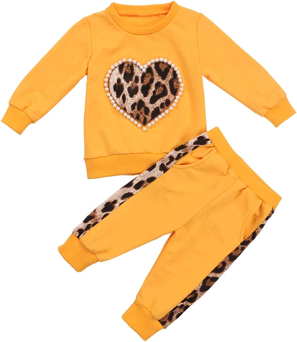 2Pcs Toddler Baby Girl Fall Clothes Leopard Long Sleeve Sweatshirt T-Shirt Tops Pants Set Sweatsuit Outfits