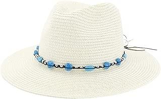 Hats and Caps Panama Hat for Women Straw Fedora Fmale Sunhat Women Summer Beach Sun Visor Cap Chapeau Cool Jazz Trilby Cap Sombrero (Color : Cream, Size : 56-58CM)