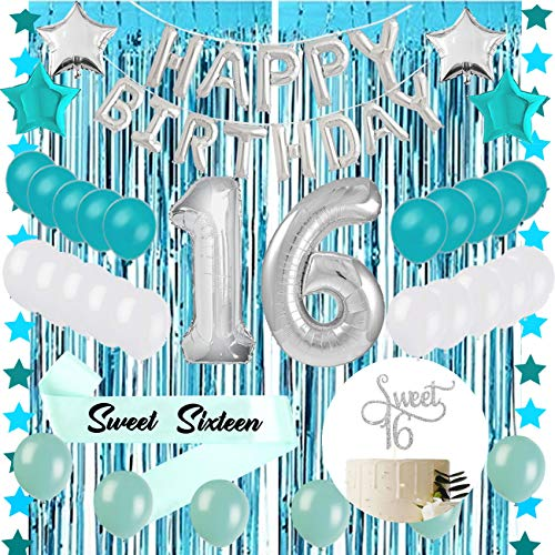 Sweet 16 Sixteenth 16th Birthday Decorations Turquoise Blue Party Balloons Supplies 30 Silver Number 16 Happy Birthday Balloons Tinsel Curtain, Sweet 16 Silver Cake Topper