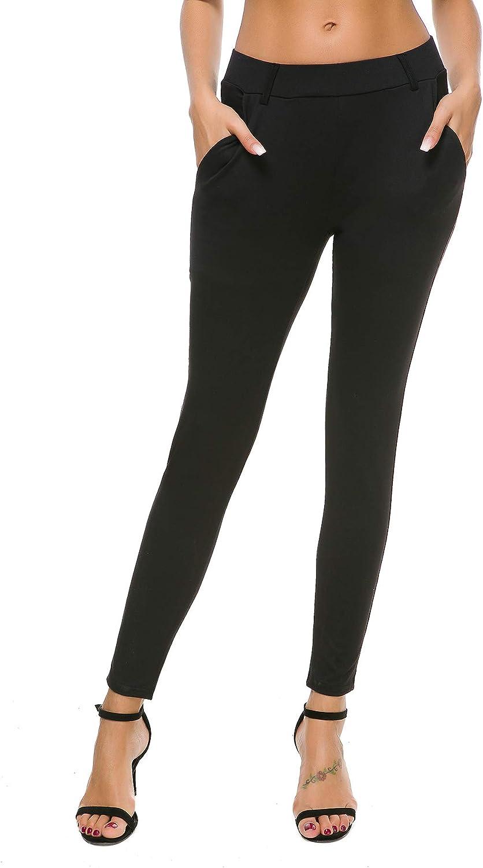 Bamans Women's Yoga Dress Pants Tummy Control Pull On 4 Way Stretch Skinny Slim Leggings