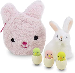 Daiso Japan Easter Bunny Rabbit Coin Purse Pink with Bunny Figurine and Chick Erasers - Perfect 5 Piece Set for Girls