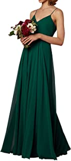 Spaghetti Strap Bridesmaid Dresses V-Neck Chiffon Beach Wedding Long Prom Gowns for Women
