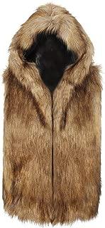 Sunward Coat for Men,Men Faux Fur Vest Jacket Sleeveless Winter Body Warm Coat Hooded Waistcoat Gilet