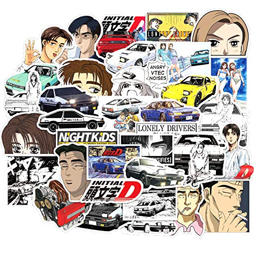 100pcs/pack Japanese Anime Initial D Lable Stickers for Notebook Motorcycle Skateboard Computer Mobile Phone Decal Cartoon Toy