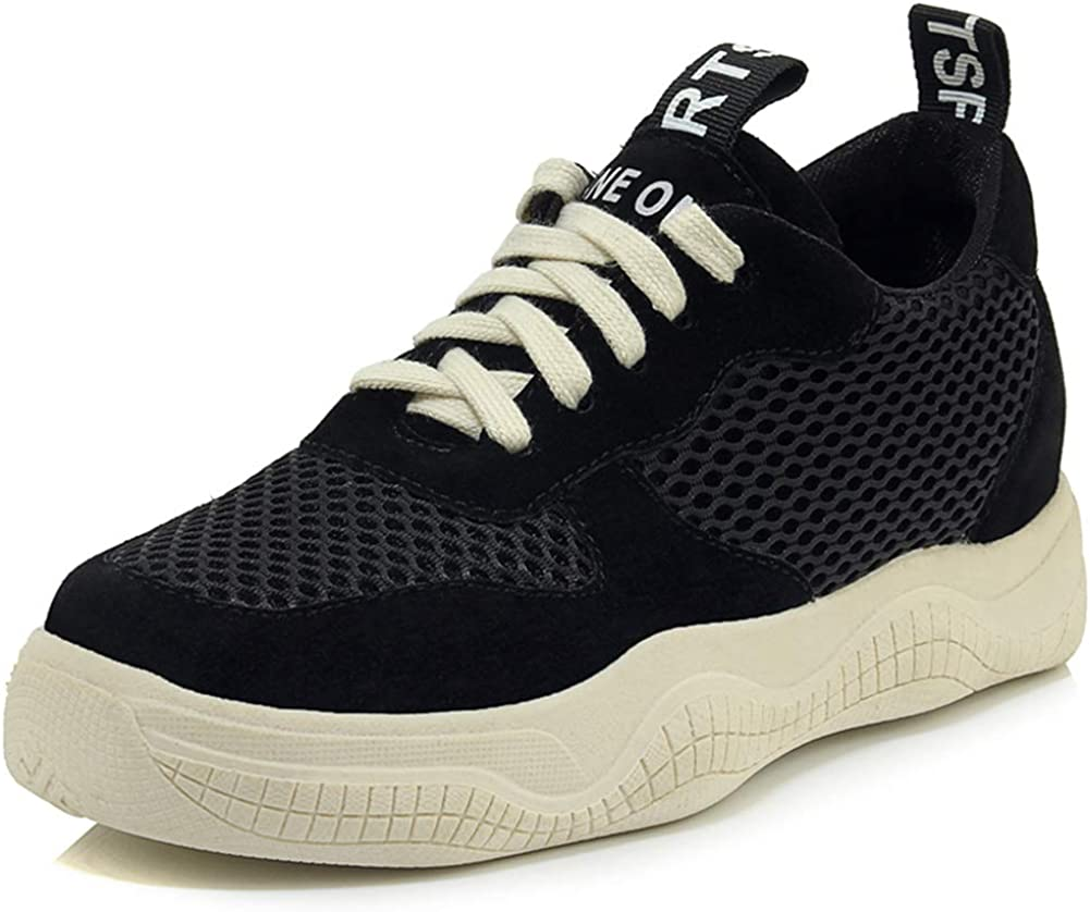 Vimisaoi Women's Platform Trendy Dad Sneakers Lace Up, Casual Latex Padded Insole Mesh Leather Trainer Sports Walking Shoes Black