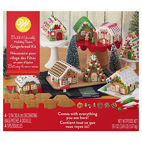 Wilton Build it Yourself Holiday Town Gingerbread Decorating Kit
