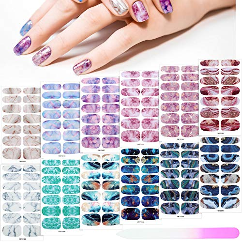 168 Pieces 12 Sheets Gradient Marble Full Nail Stickers Marble Printed Full Wrap Nail Stickers Self-Adhesive Nail Art Decal Strips with Glass Nail File for Women Girls DIY Nail Art (Chic Style)