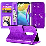 LG Stylo 5 Case,LG Stylo 5 Phone Case W/(2 Pack) Screen Protector[Wrist Strap][Kickstand][Credit Card Slots],PU Leather Bling Glitter Flip Case Wallet Cover for Girls Women,Purple