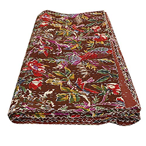 Brown Bird Print Cotton Kantha Bedding Kantha Quilt Decorative Floral Print Bed Cover Bohemian Cotton Kantha Quilt Boho Bedding Decorative Twin/ Single Stitched Bed Cover Bedding Comforter Decor