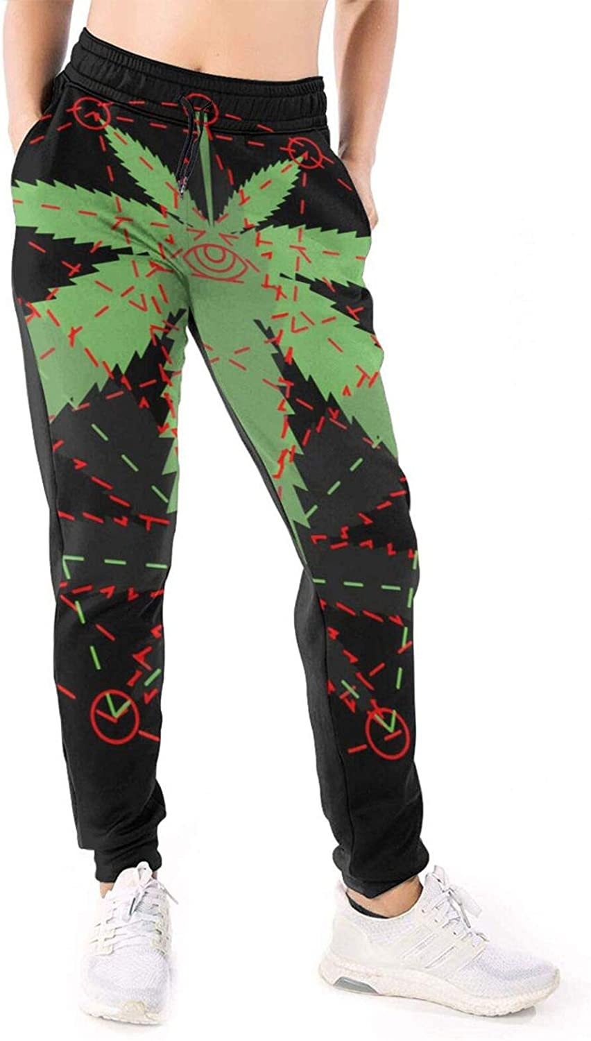 LONEA Women Joggers Pants Weed with The Illumination Athletic Sweatpants with Pockets Casual Trousers Baggy