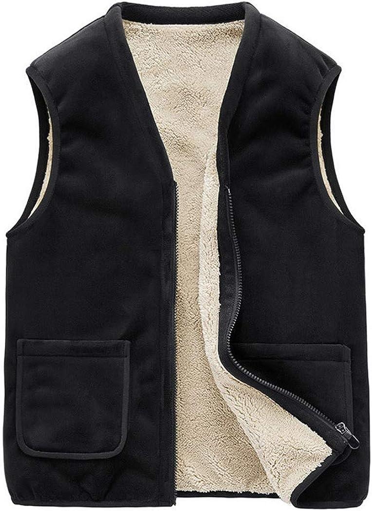 Super sale Winter Men's Lamb Cashmere Super special price Coats Multi Fleece Pockets Waist Vest