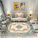 cuadros decoracion salon grandes alfombras infantiles La alfombra de dormitorio rectangular en beige azul retro no se deformará y no se desvanecerá cuadros cabecero cama matrimonio 200X280CM 6ft 6.7'X