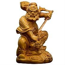 Zhongkui Wood Sculpture Figure of Buddha Boxwood Statue Zhong Kui Household Decoration Chinese Style Arts Taoism Home Deco...