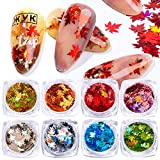 8 Colors 3D Holographic Nail Art Glitters Sequins Maple Leaf Laser Ultra-thin Designs Paillette Flakes Confettie Stickers Nail Arts Supplies Manicure Tips DIY Crafts Decoration Accessories Kits